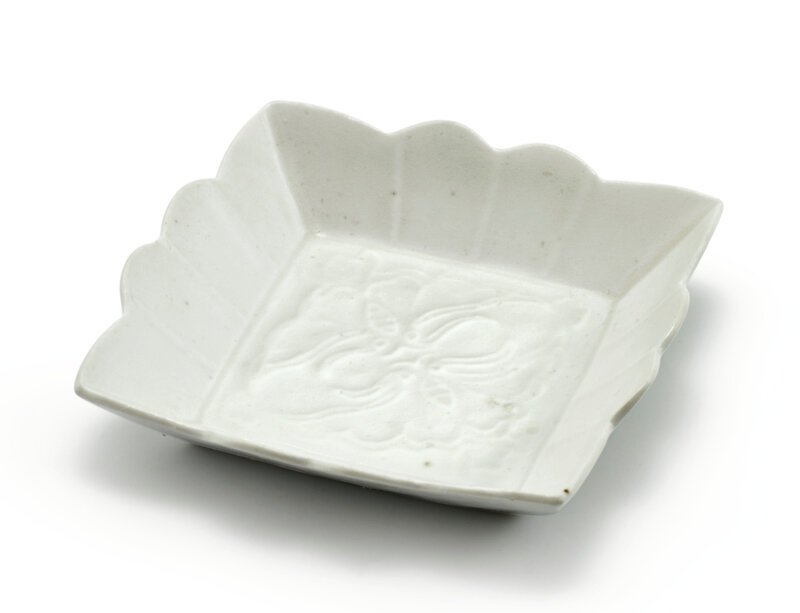 An inscribed moulded white-glazed square dish, Song dynasty (960-1279)