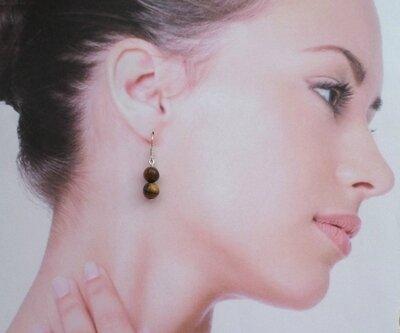 Boucles d'Oreilles Anjali Perles Oeil de Tigre 8 mm Argent du Tibet
