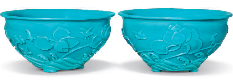 A pair of carved turquoise glass bowls, 19th-20th century