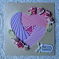 Trois petits coeurs en iris folding se sont envolés...