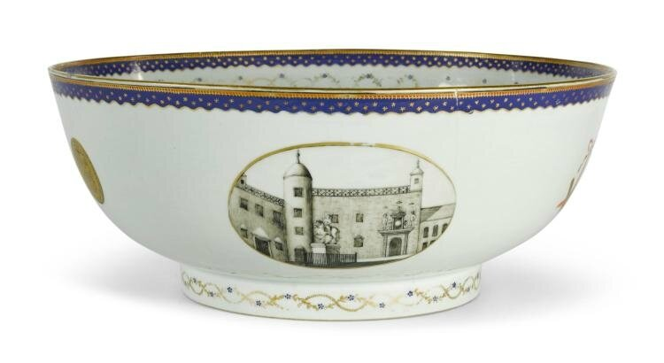 A Chinese export 'Masonic-Scottish Parliament' armorial punch bowl, Qing Dynasty, Qianlong Period