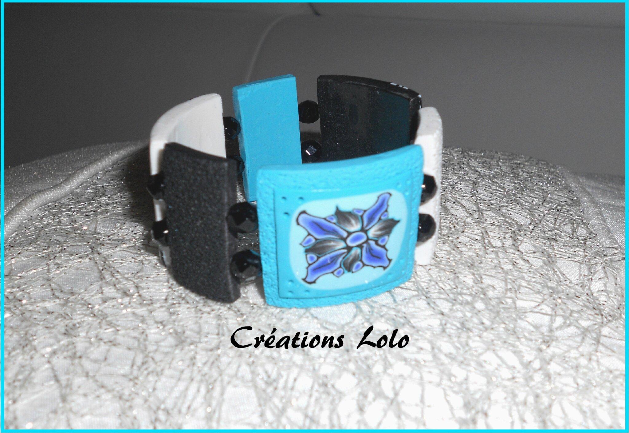 247 - Bracelet bleu-noir