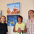 017 - Jacqueline Marquezy et Alain Richecoeur entourant la Présidente du jumelage de Greve