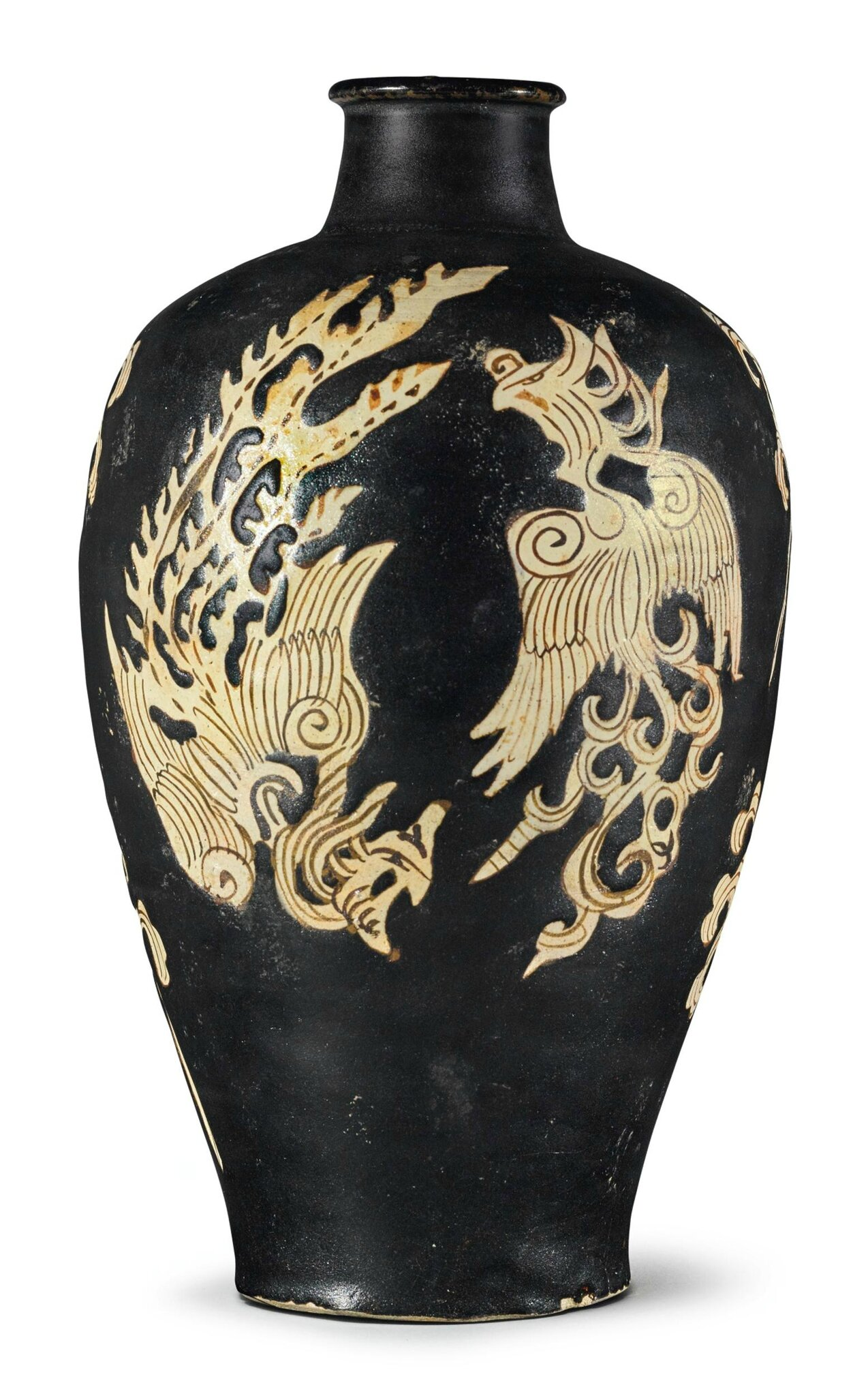 A rare resist-decorated 'Jizhou' 'Phoenix' meiping, Southern Song-Yuan dynasty
