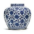 A blue and white lobed 'lotus' jar, ming dynasty, wanli period (1573-1620)