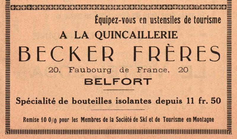 Publicité Quincaillerie Becker Frères BF