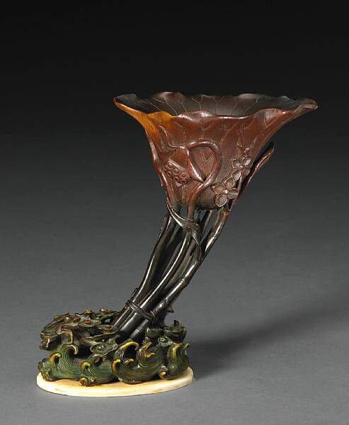 A fine and tall rhinoceros horn libation cup