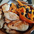 Poulet laqué au miel et légumes rotis
