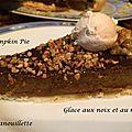 Dessert de thanksgiving : pumpkin pie et glace miel-noix