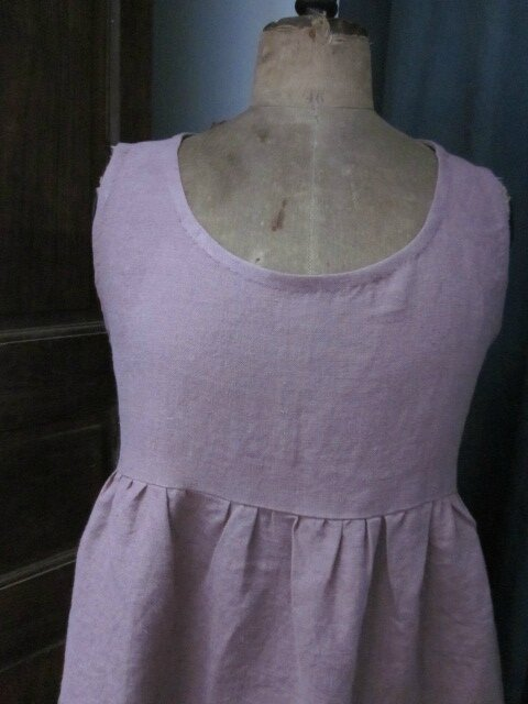 Robe CAROLINE en lin lourd vieux rose (3)