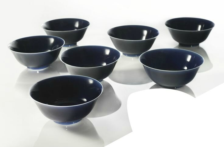 Seven blue-glazed bowls, Daoguang seal marks and period