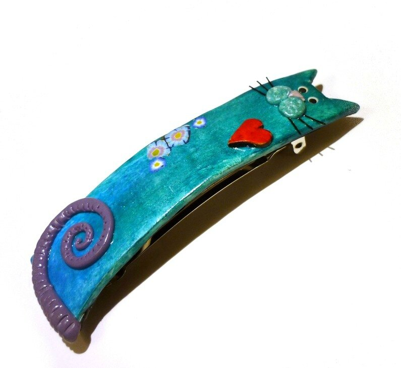 Barrette chat peacock