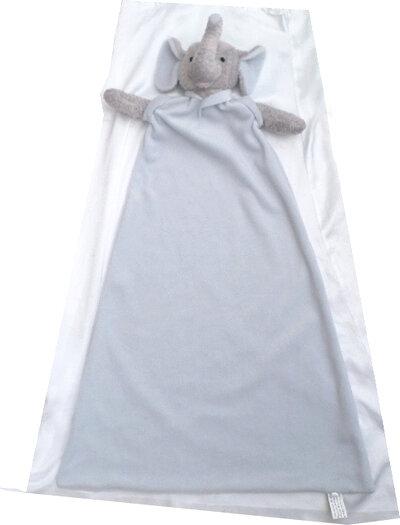 Doudou Peluche Plaid Couverture Polaire Eléphant Gris Et Bleu