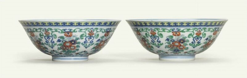 A pair ofdoucai'floral bouquet' bowls, Yongzheng six-character marks in underglaze-blue within double circles and of the period(1723-1735)
