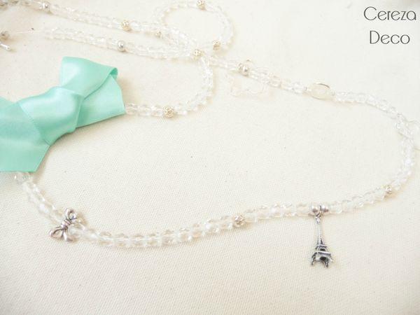 collier sautoir bijou fantaisie cristal noeud vert d'eau mint tour eiffel paris cereza deco