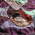Raimbaud revisité - appliqué sur patchwork crazy courbe au piqué libre machine