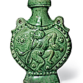 An unusual small green-glazed pottery 'pilgrim's' flask, Tang dynasty (AD 618-907)