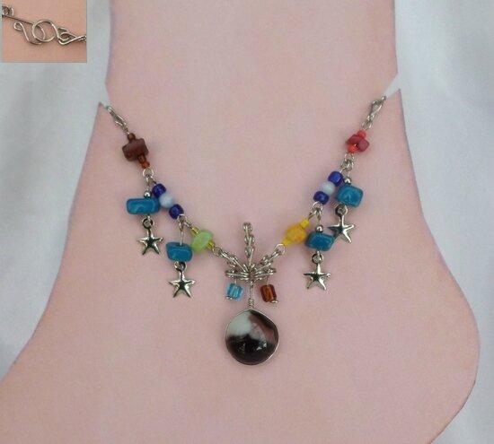 Bracelet de Cheville Chevillère Hippie Perles Verre Murano Blanc Et Prune Pierre de roches Argent D'alpaca Artisanat du Pérou
