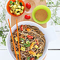 Salade soba-courgette & sauce cacahuètes