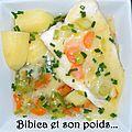 Filet de cabillaud en bouillon de légumes et sauce safranée