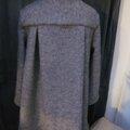 Manteau AGLAE en laine bouillie gris moyen chiné fermé par un noeud (8)