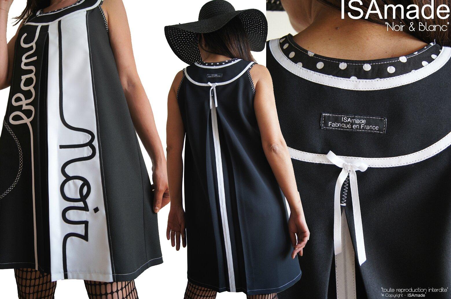 Robe trapèze Bicolore Noir Blanc Tendance Femme 2015 Graphique et applications Stylisées Noir et blanc Cousues