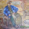 paysan qui fabrique un panier