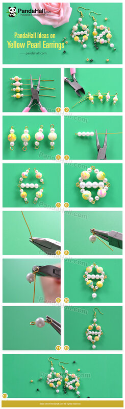3-PandaHall Ideas on Yellow Pearl Earrings