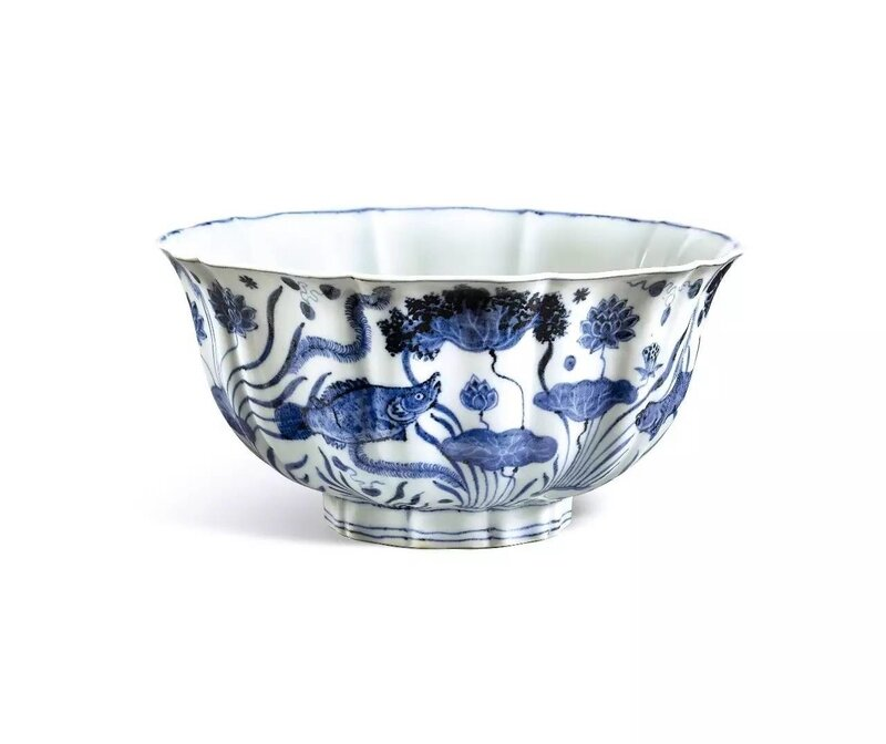 An_Exceptionally_Large__Fine_And_Important_Blue_And_White_Lobed__Fish_Pond__Bowl