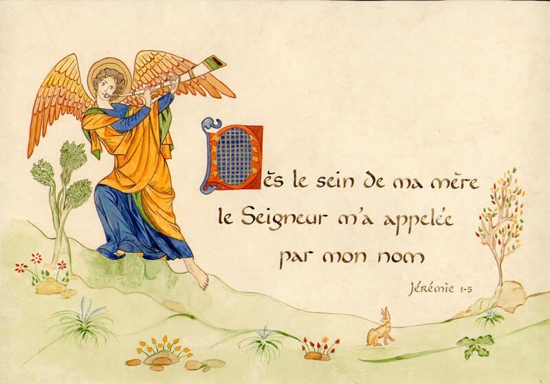 L'appel de Dieu, Jérémie 2, calligraphie du Centre de Béthanie