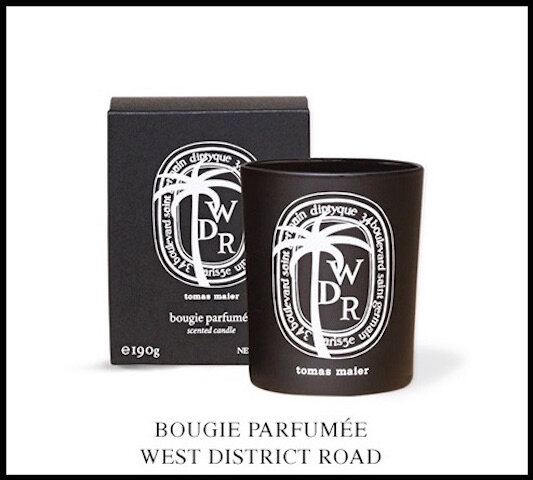 diptyque et tomas maier west district road bougie parfumee