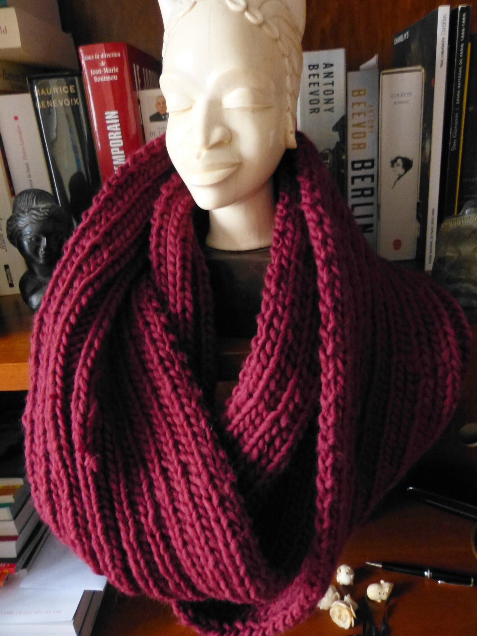 Snood en laine mèche