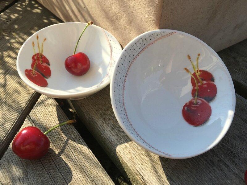 Le temps des cerises - Peinture sur porcelaine