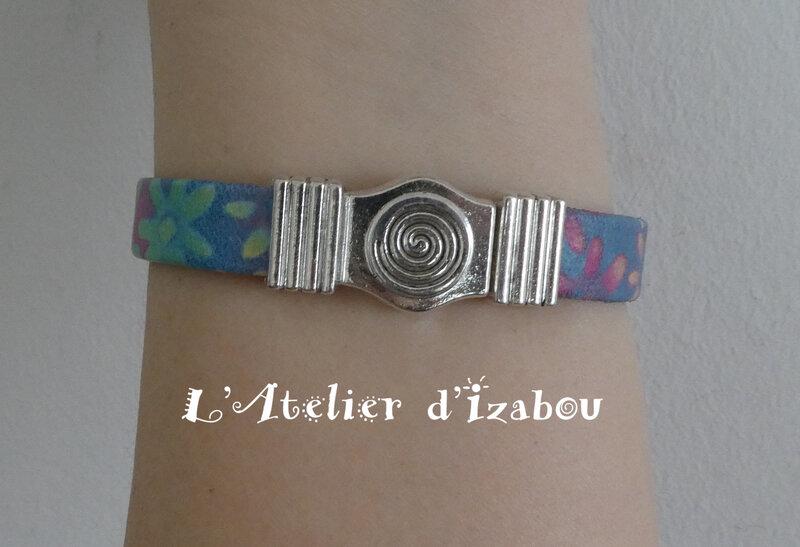 P1030209 Bracelet cuir multicolore, passant poisson et fermoir spirale magnétique