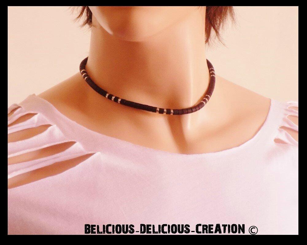 Original Collier sufer Homme !! BLACK !! en Metal silicone plastique. noir collier long 42cm BELICIOUS-DELICIOUS-CREATION