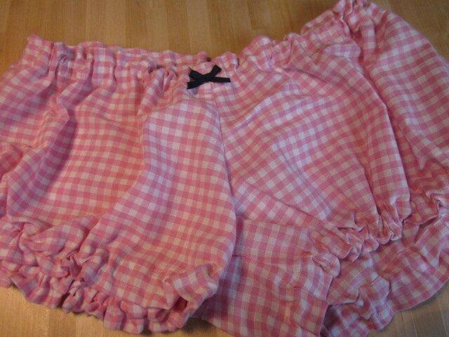 Culotte BIANCA en coton vichy rose et blanc - noeud marine (2)