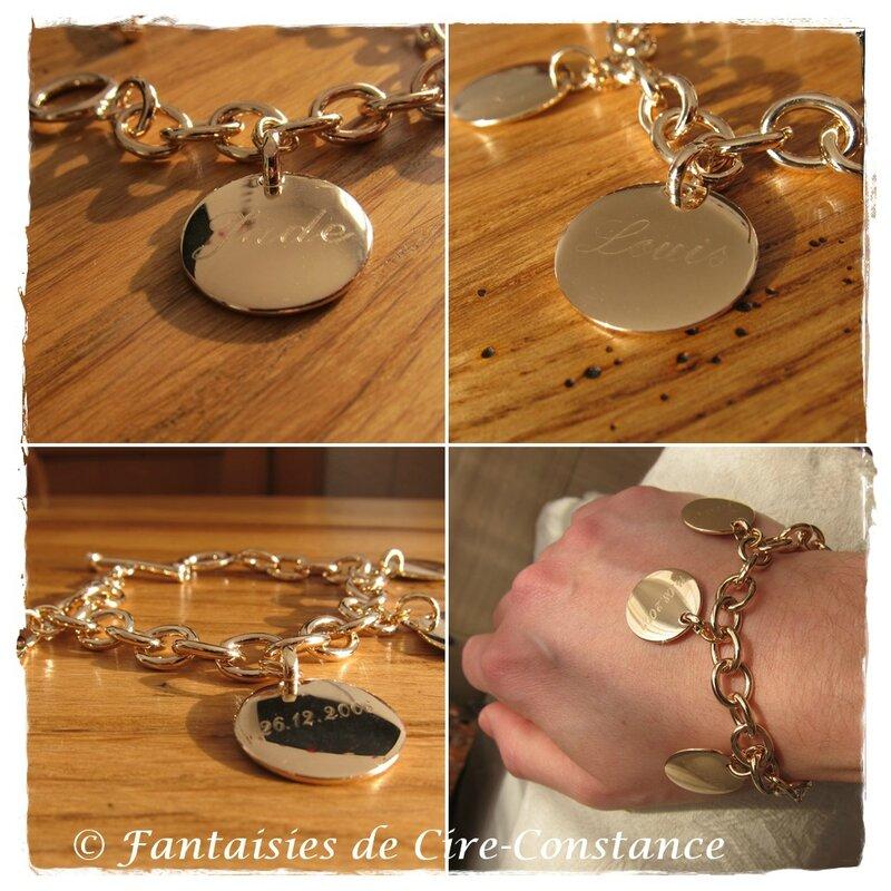Bracelet mailles rondes plaqué or médailles gravées joaillerie-3