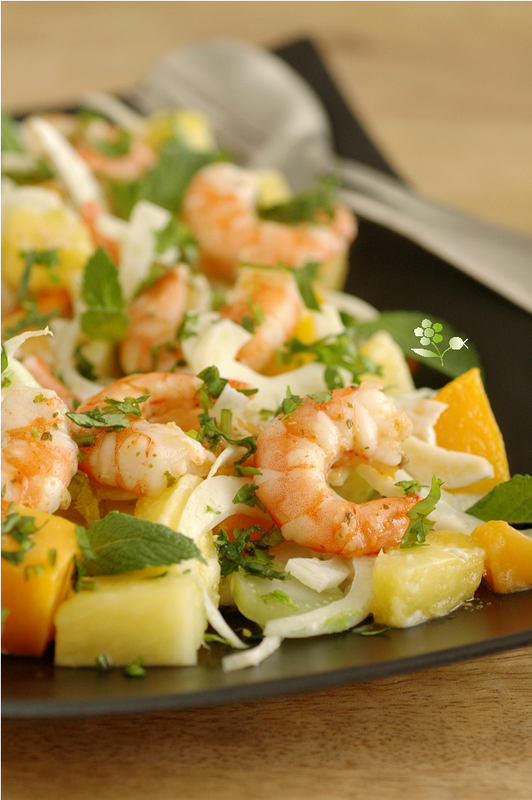 Salade fenouil, ananas, mangue, menthe, coriandre_4