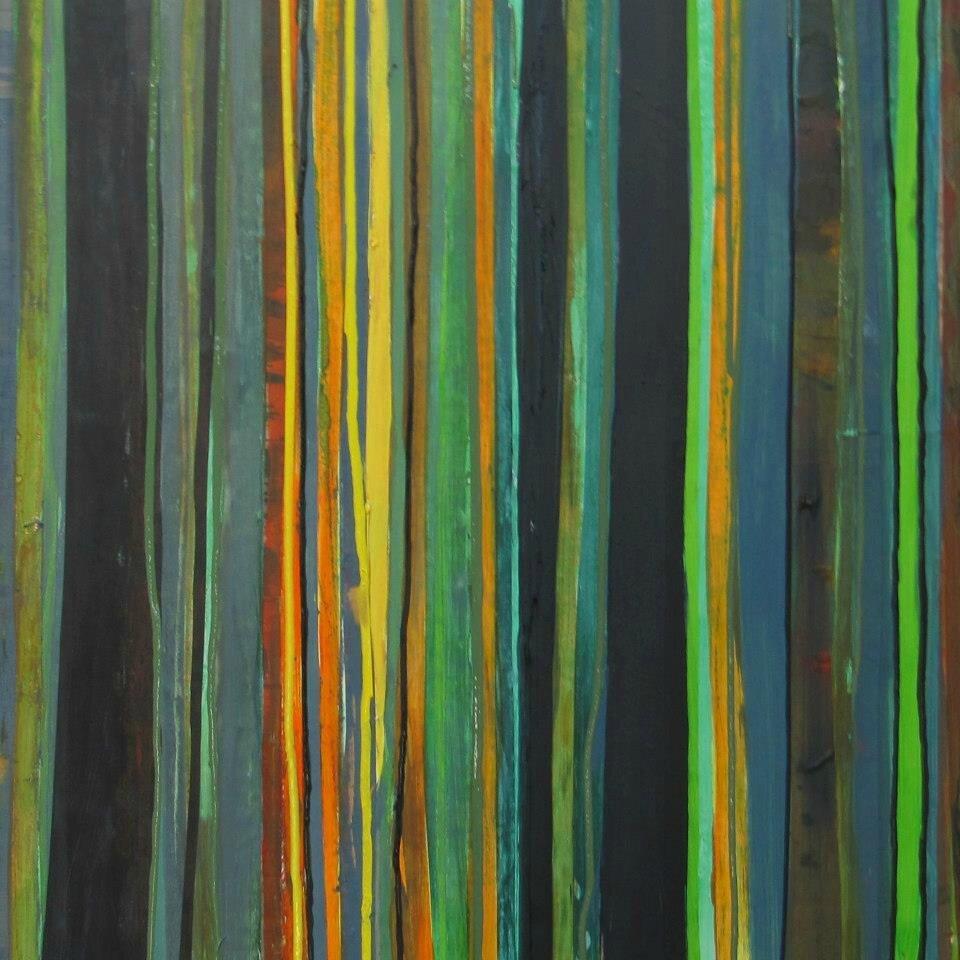 Forêt #21, 2011, acrylique sur bois, 100 x 100 cm