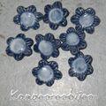 Boutons céramique fleur bleue