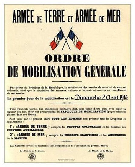 Guerre 1914 1918 - Mobilisation