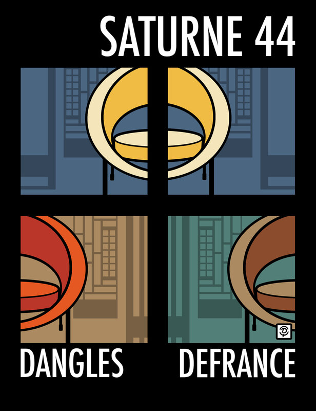 "Fauteuil ""Saturne 44"" Dessin original sur fond noir"