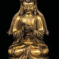A gilt bronze figure of vairocana, china, ming dynasty, 16th century