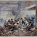 Escribe, ouvriers, gendarmes et pompiers portant secours à un blessé; scène de la commune