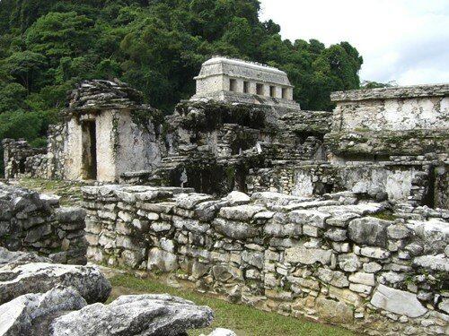 Palenque - View of the Temple of Inscriptions from inside the Palace