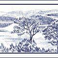 Paysage provençal découverte ballade en bateau croquis au stylo bille - Illustration revue Joie de vivre Berratenco