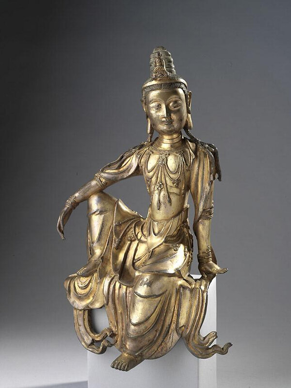 Figure of Guanyin (Avalokitesvara) seated in royal ease, Yuan Dynasty-Ming Dynasty, mid 14th-mid 15th Century