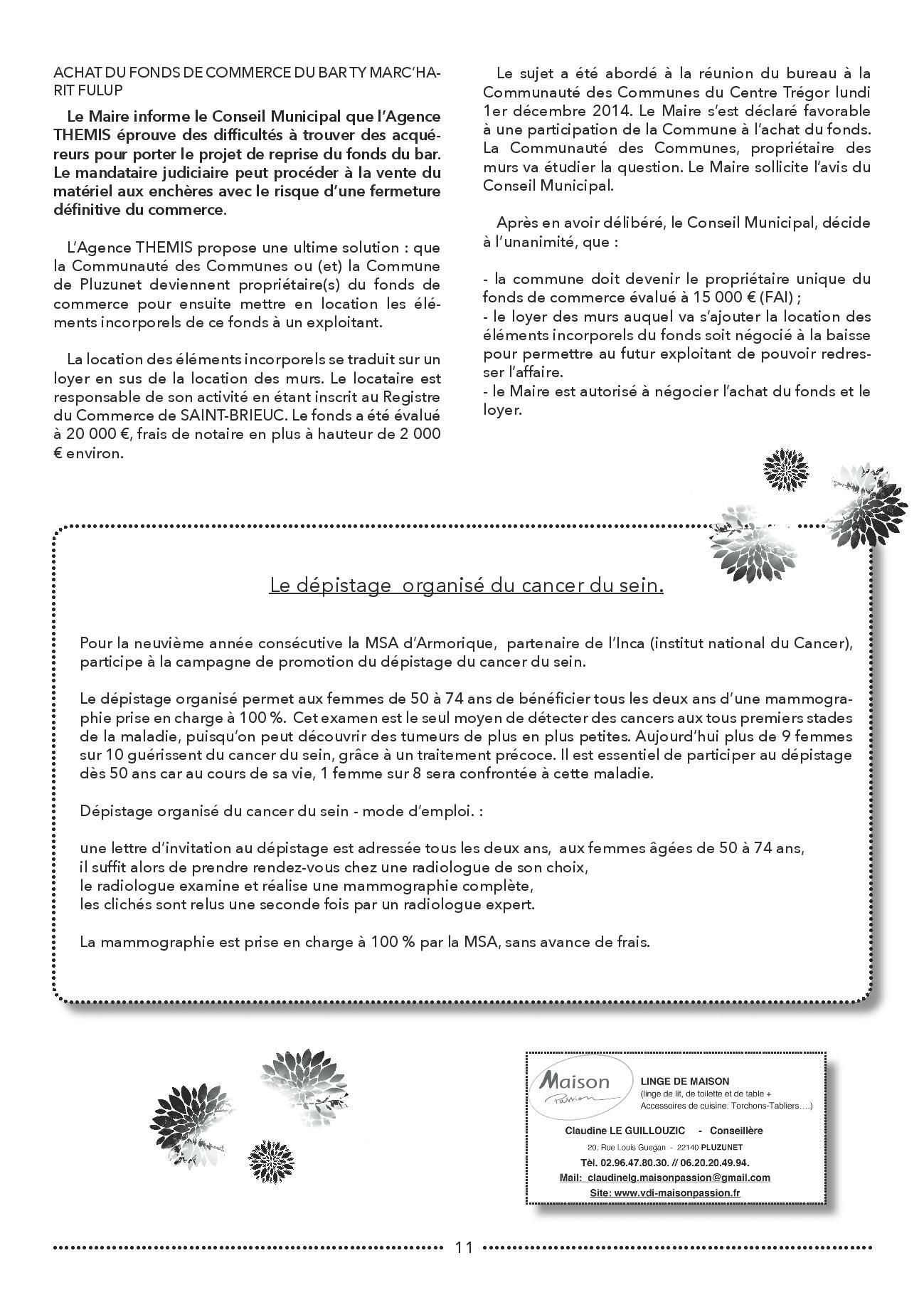 Bulletin municipal de Pluzunet, N-¦60 - d+®cembe 2014-page-011