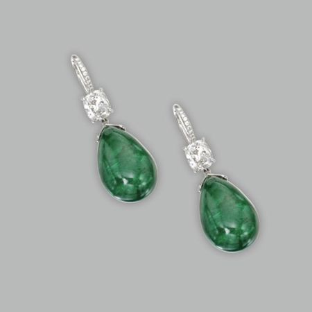 Pair_of_Platinum__Emerald_and_Diamond_Pendant_Earrings