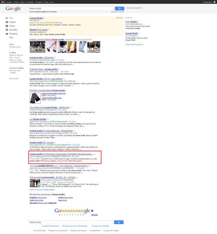 Canalblog Google recherche Loose Socks